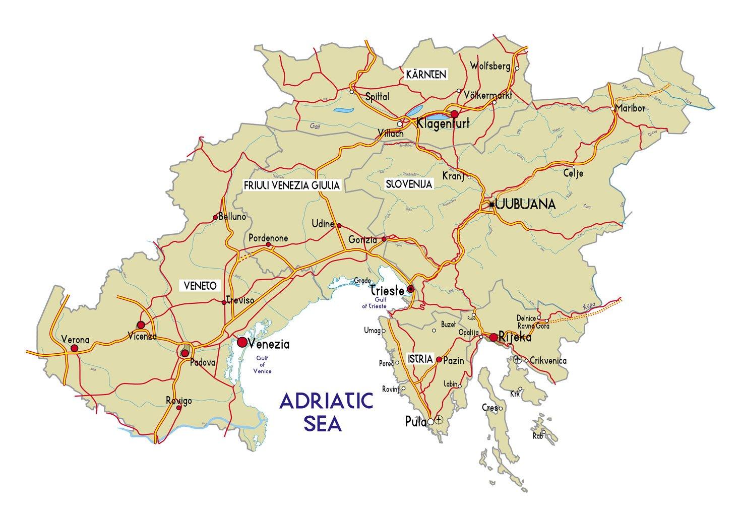 Cartina Del Veneto E Friuli.Regione Veneto Euroregione